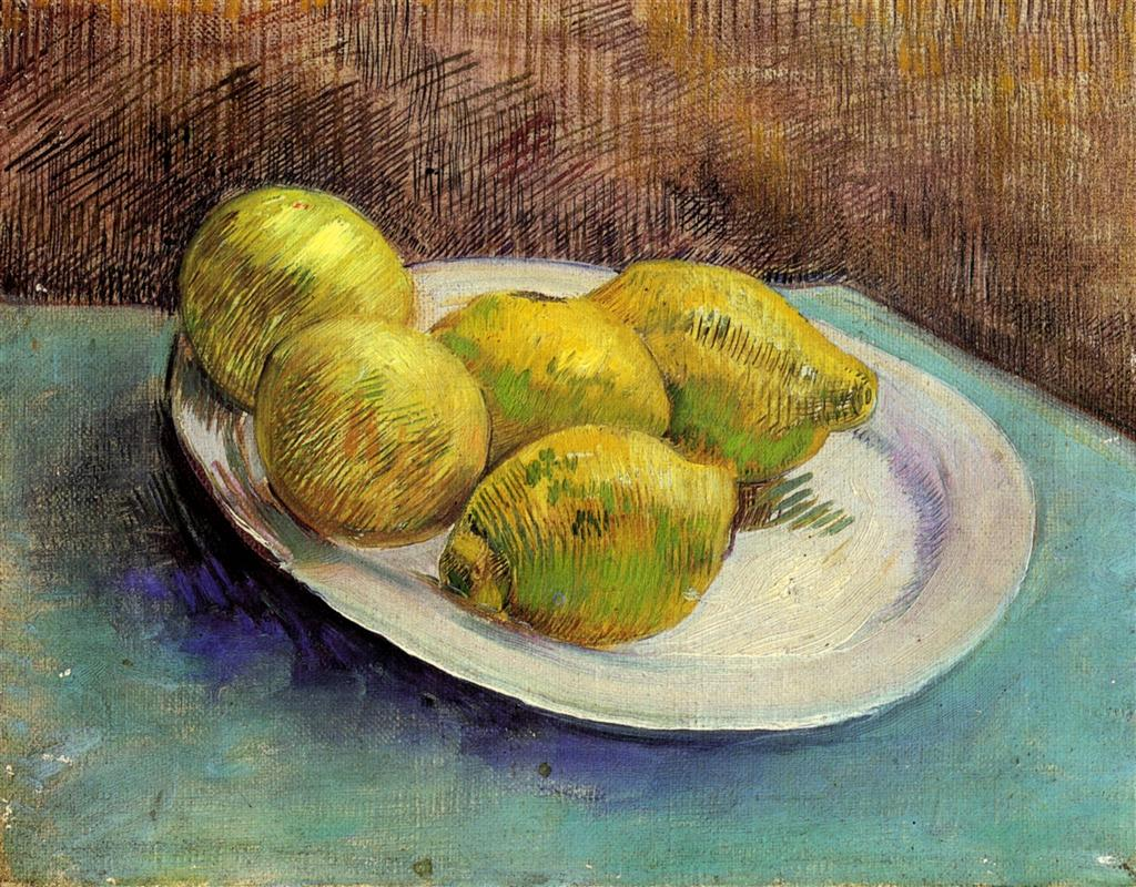 Vincent Van Gogh. Still life with lemons on a plate. 1887