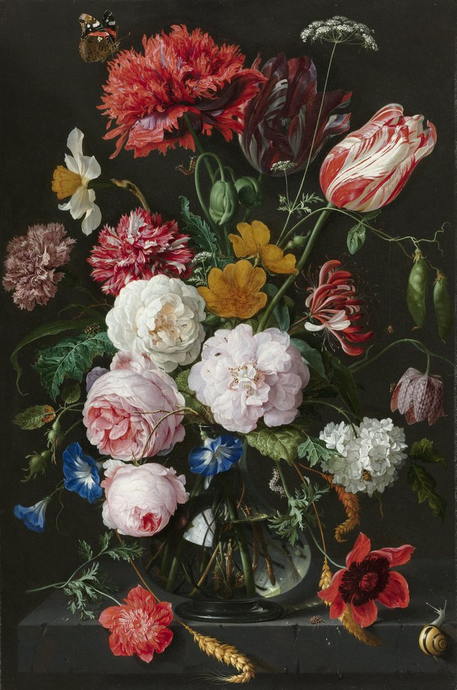 Jan Davidsz. de Heem. Still life with flowers in a glass vase. 1650-1683. Click to see the painting in high-resolution on Rijksmuseum site.