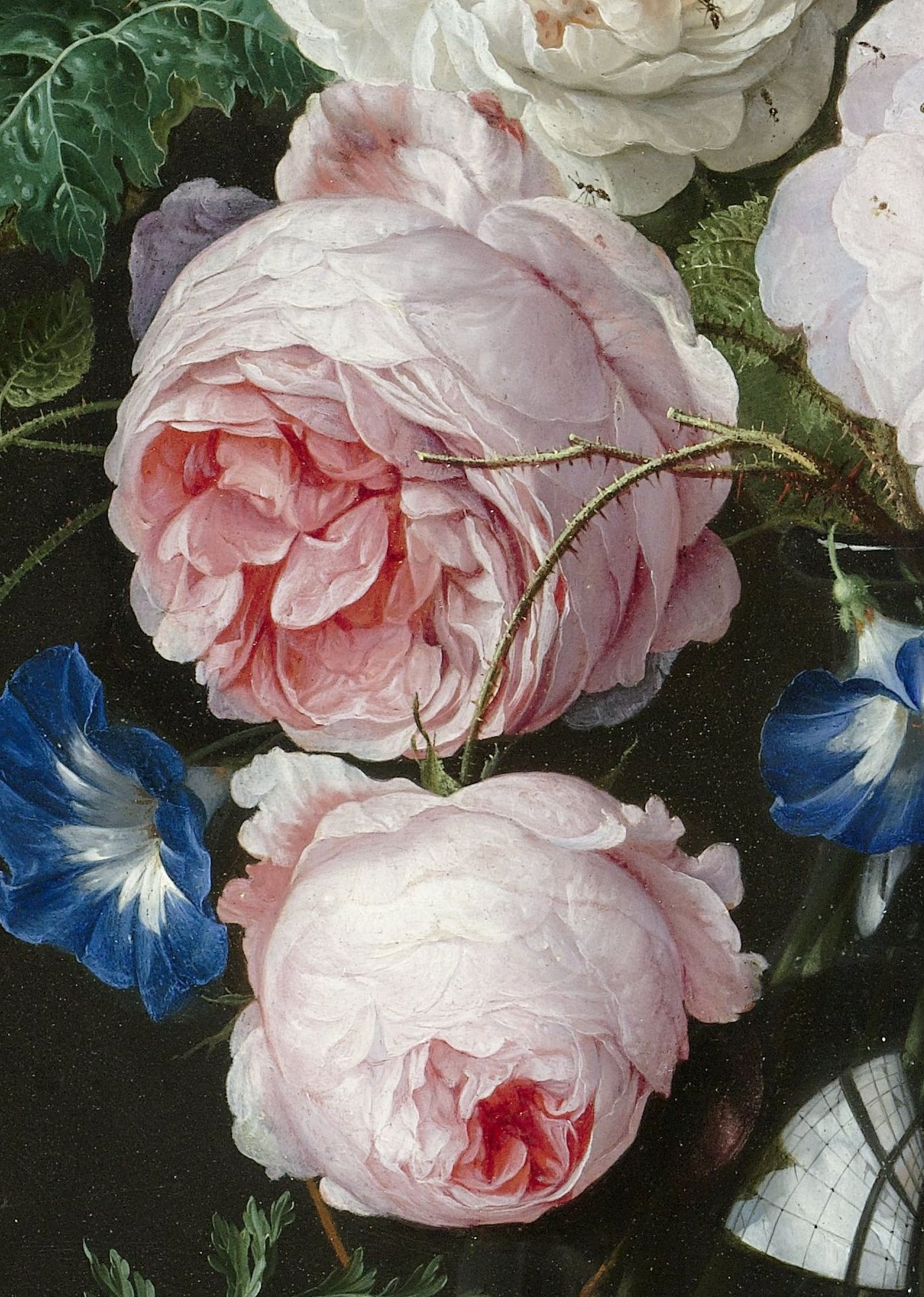 Jan Davidsz. de Heem. Still life with flowers in a glass vase. Detail.