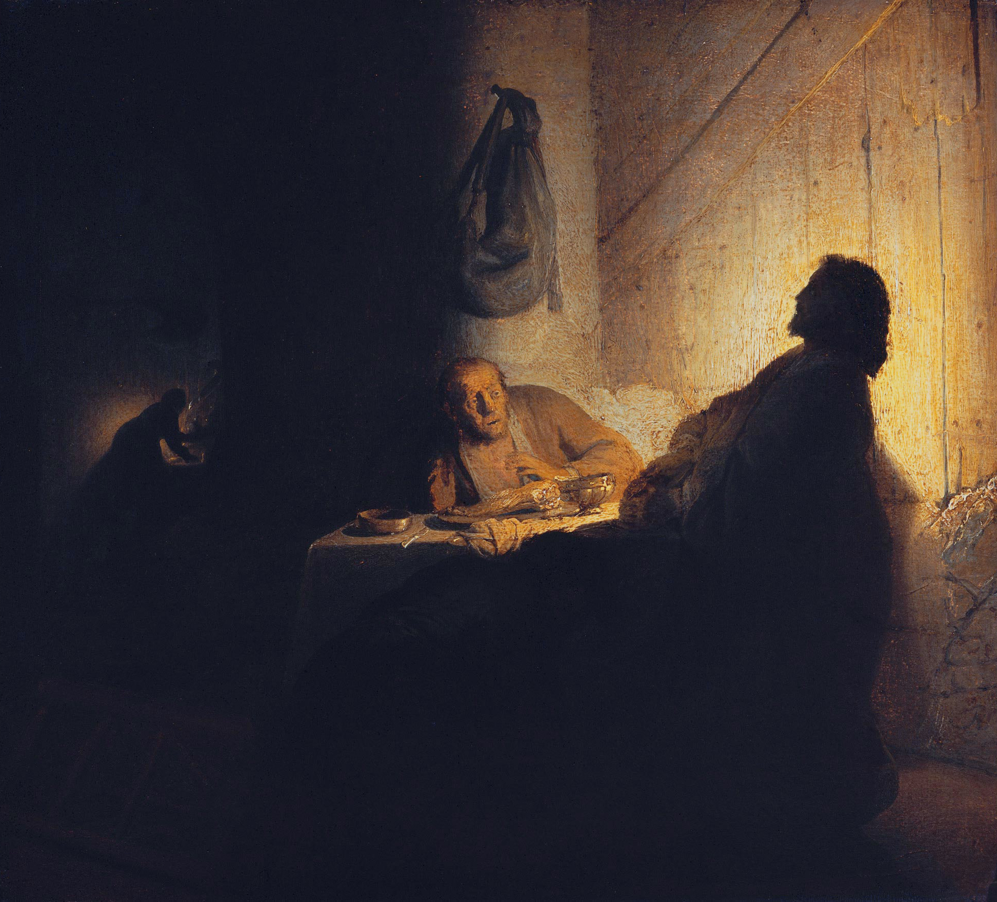 Rembrandt. The supper at Emmaus. Oil on paper on panel. 39 x 42 cm. Circa 1628.