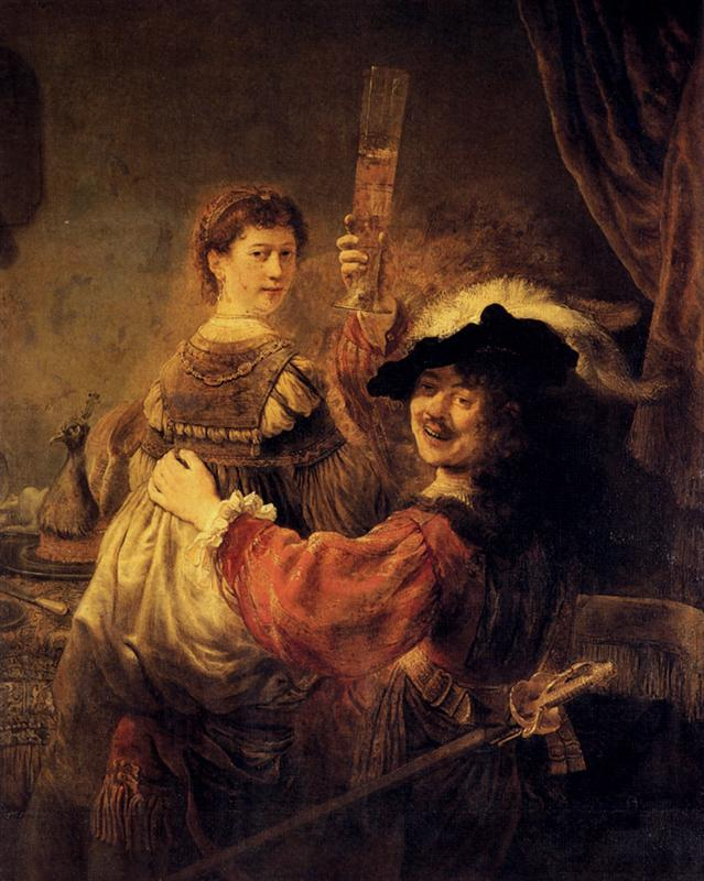 Rembrandt. Self-portrait with Saskia in the parable of the prodigal son. 1635.