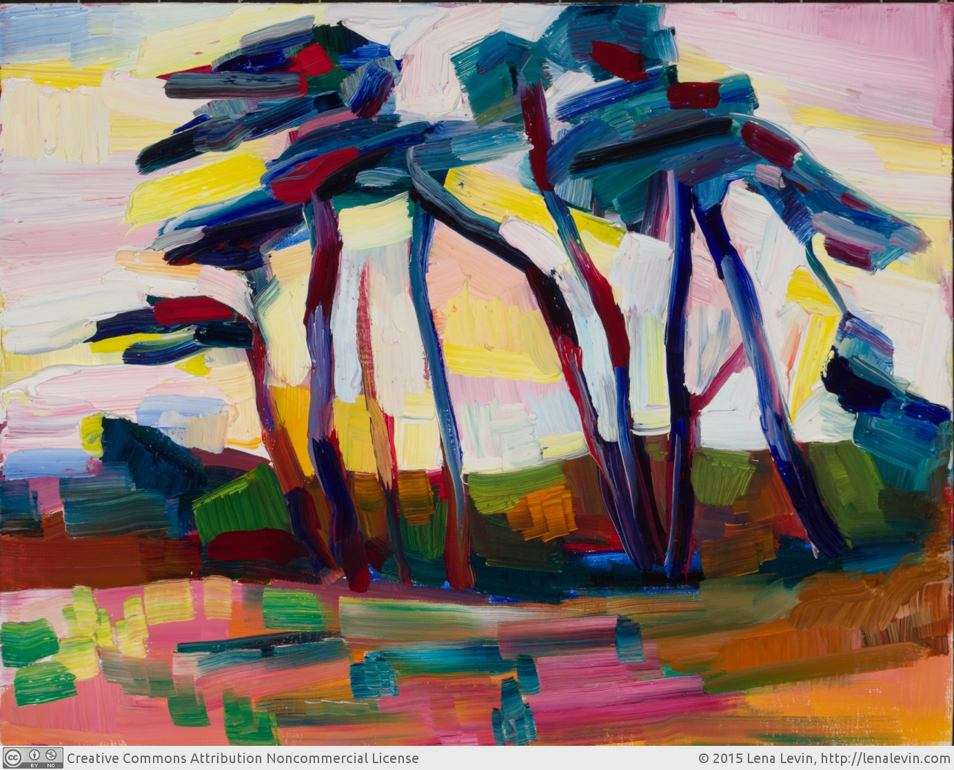"Lena Levin. Fort Bragg: Trees and Wind. Oil on canvas panel, 11""×14"". 2015."