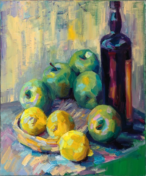 Still life with green apples and lemons