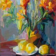 Still life with orange lilies and lemons
