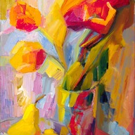 Tulips, an orange and two pears