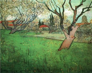 "Vincent Van Gogh. ""View of Arles with Trees in Blossom"" (1988)."