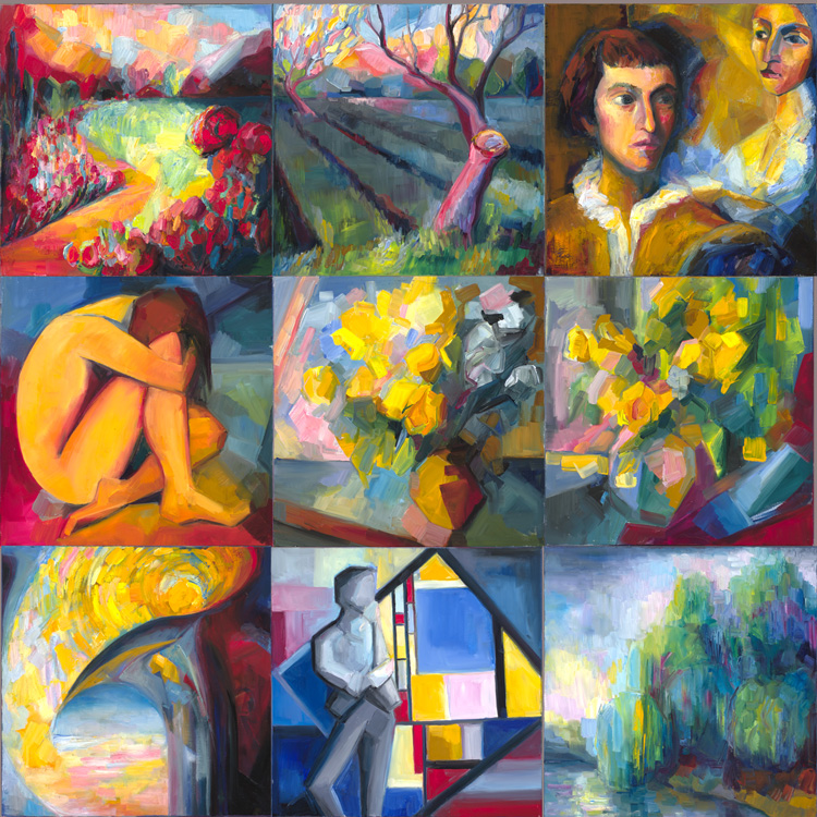 A collage of first nine sonnet paintings