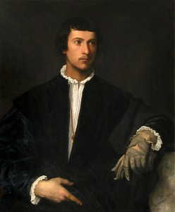 Titian. Man with a glove.