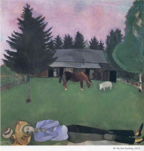 Marc Chagall. The poet reclining. 77 x 77.5 cm. Oil on canvas. 1915