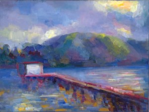 "Lena Levin. Tomales Bay: sunrise effects. 18""x24"", oil on linen. 2012"
