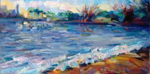 "Lena Levin. Alameda: Rain and Sun. 24""x12"". Oil on canvas panel. 2011.Lena Levin. Alameda: Rain and Sun. 24""x12"". Oil on canvas panel. 2011."